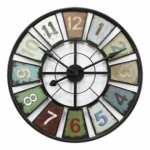 New-Round-60cm-Metal-Numbers-Wall-Vintage-Industrial-Clock-AU