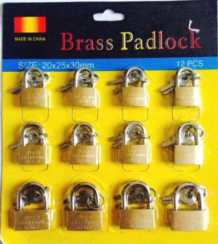 12 x BRASS PADLOCK 20,25,30mm Luggage Heavy Duty Garage Shed Gate Security Lock