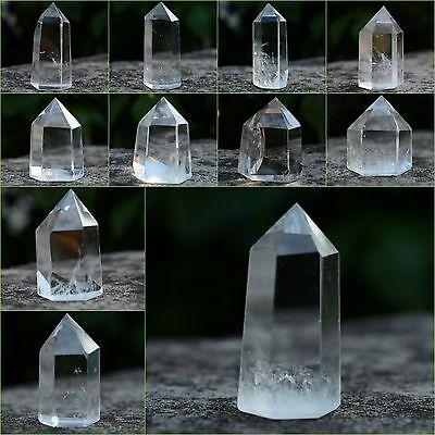 38-48mm Faceted Natural White Clear Quartz Hexagonal Point Crystal Specimen