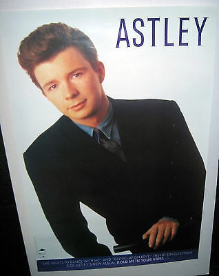 RICK ASTLEY Hold Me In Your Arms (Original 1988 US 24 x 36 In-Store Only Poster+