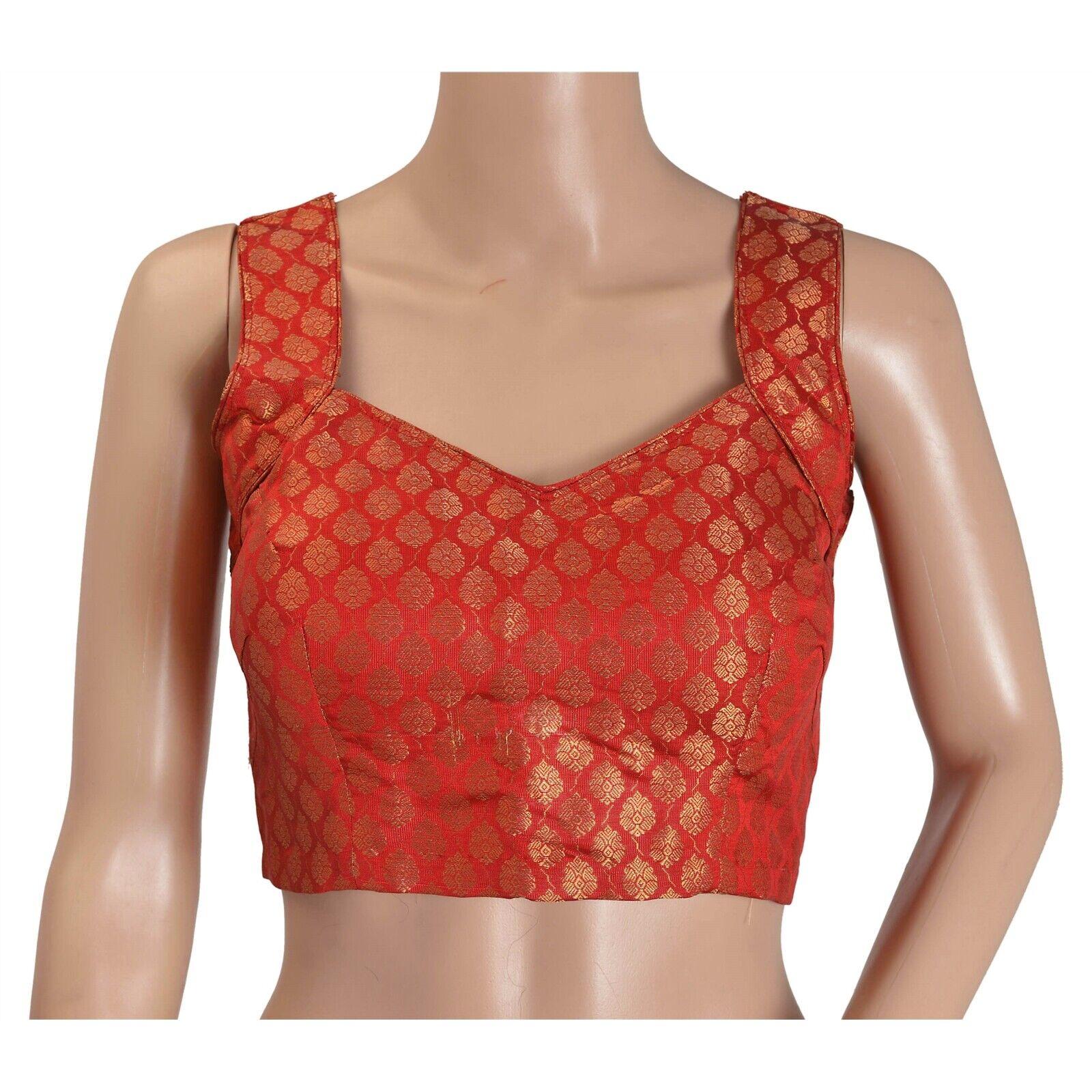Sanskriti nouveau rouge Crop Top Chanderi Silk tissu tissé rembourré chemisier Saree Choli