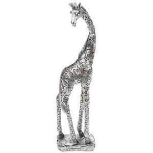 New-Silver-Leaf-Giraffe-Standing-Statue-Ornament-Figurine-38-cm-Tall-45633