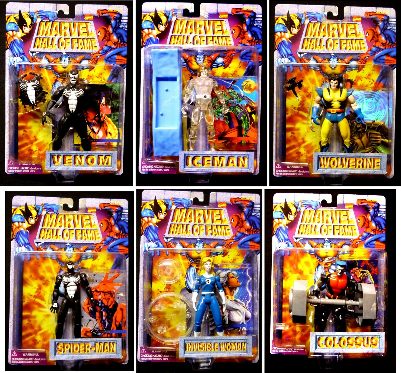 Hall of Fame Series 2 Action Figure Set of 6 New 1996 Venom X-Men Spider-man
