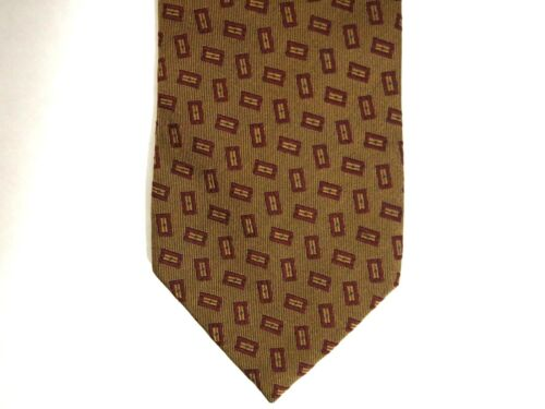 Coach Mens Necktie Tie Brown Red Geometric 100% Si