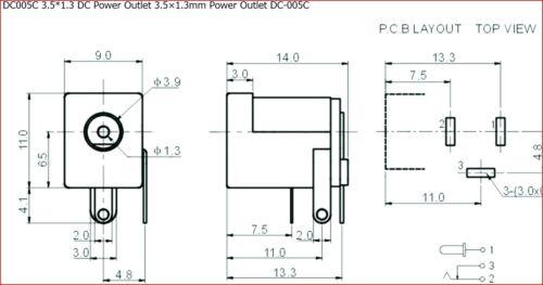 3.5*1.3 DC Power Outlet 3.5×1.3mm PCB Mount–ref:785 4pcs