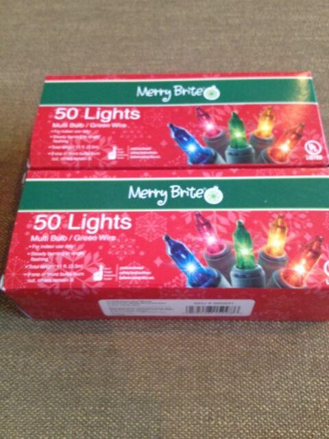Merry Brite 70 Fashion String Lights Blue Bulb Green Wire 15 Feet UL Listed