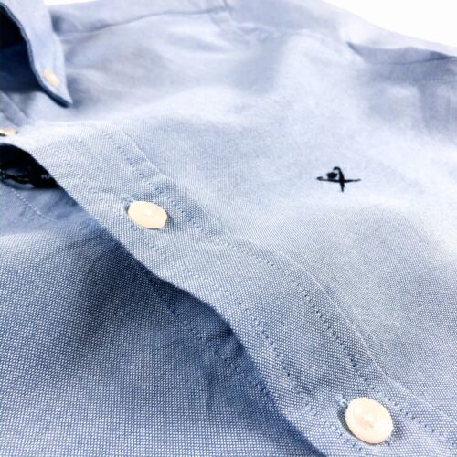 Hackett London Shirt Men/'s Slim Fit Garment Dye Delave Oxford Sky Blue HM306263