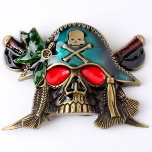 Vintage Pirate Skull Sliver Men/'s Big Belt Buckles women Cowboy Native American