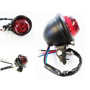 Mini-Motorcycle-Black-Red-LED-Brake-Tail-Light-Cafe-Racer-Old-School-For-Harley