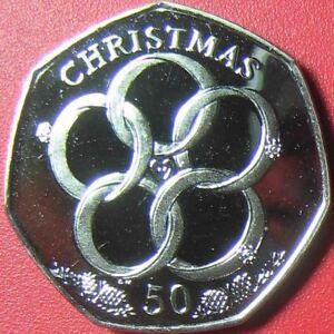 2009-ISLE-OF-MAN-50-PENCE-034-5-GOLDEN-RINGS-034-DIAMOND-CUT-PROOF-LIKE-CHRISTMAS-RARE