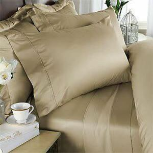 1000-TC-Egyptian-Cotton-8-10-12-15-Inch-Deep-Pocket-Beige-Solid-Bedding-Items