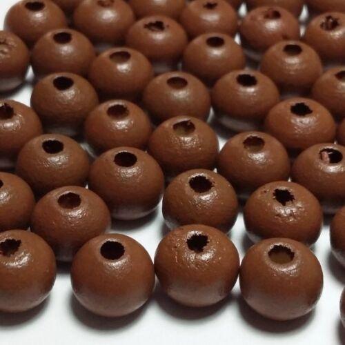 100pcs en bois teint marron perles rondes 8 mm Bohème bois Entretoises B72035