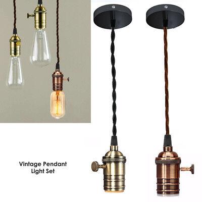 Vintage Ceiling Rose Pendant Braided, Vintage Lamp Holder Kit