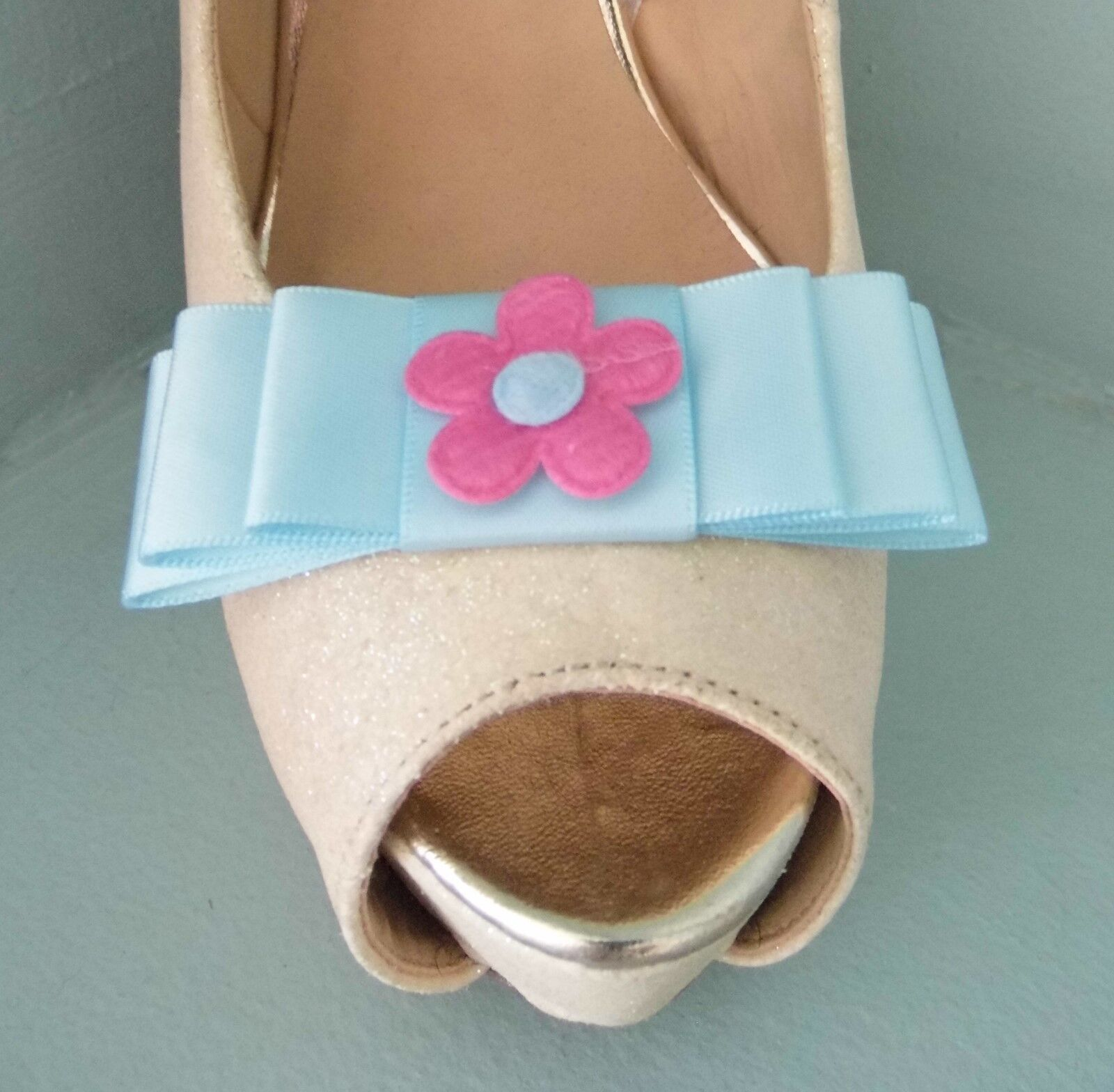 2 Baby Blue Bow Clips for Shoes with Pink Felt Flower Centre