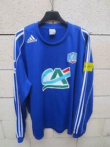 Maillot-porte-n-4-COUPE-de-FRANCE-bleu-ADIDAS-match-worn-shirt-PMU-XL