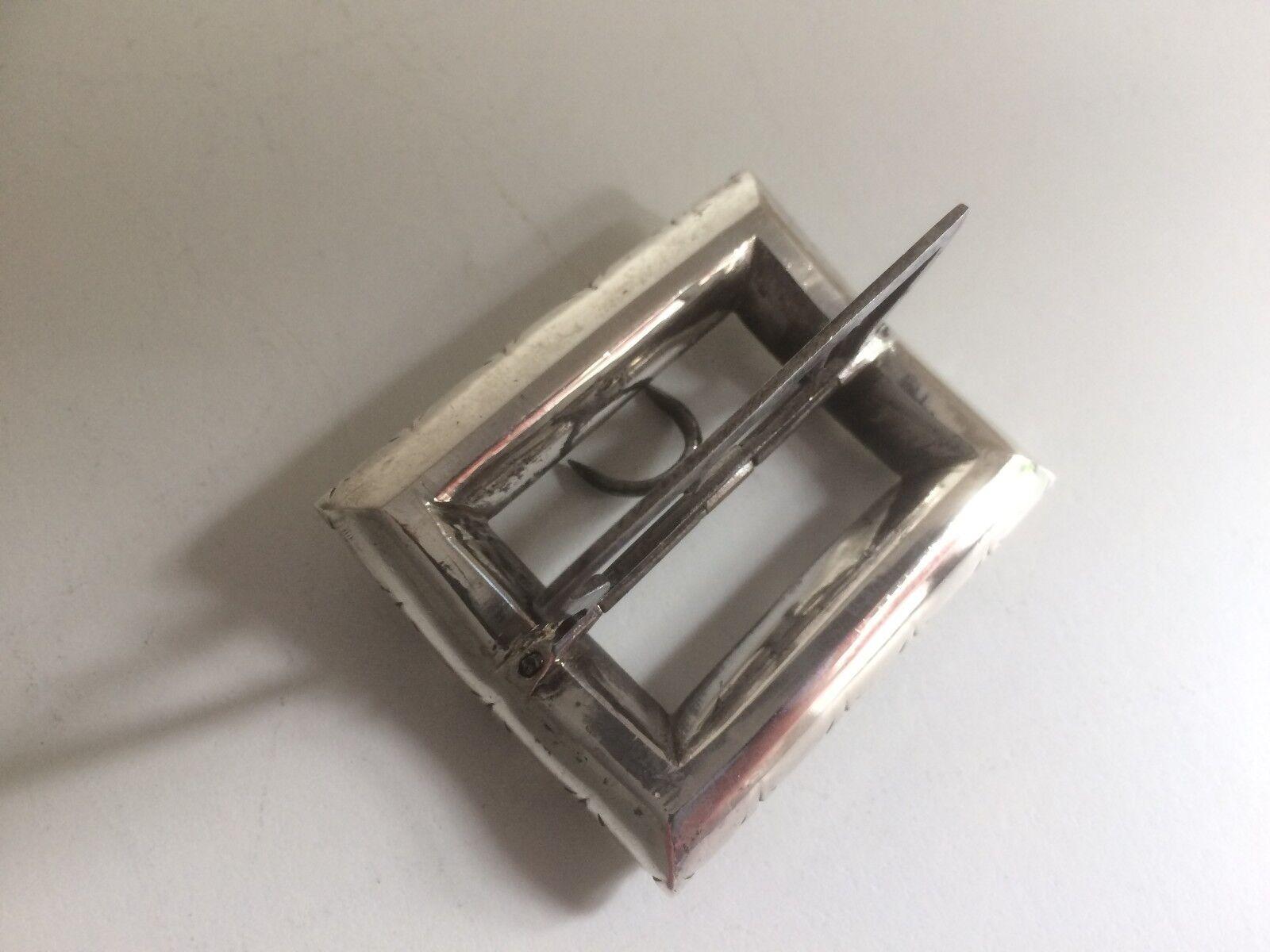 Antico Antico Antico Vittoriano Francese argentoo e incollare il vetro fibbia rettangolare d535e2