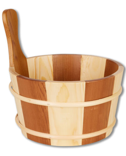 Aufguss-Set Sauna Set Pail with Wooden Handle 4ltr And Ladle 39cm Made of Wood