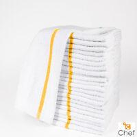 12 Cotton Gold Stripe Terry Restaurant Bar Mops Premium Kitchen Towels 24oz on sale
