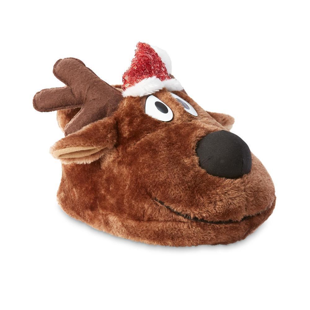 Joe Boxer Christmas Holiday Women's Brown Dasher Reindeer  Slippers