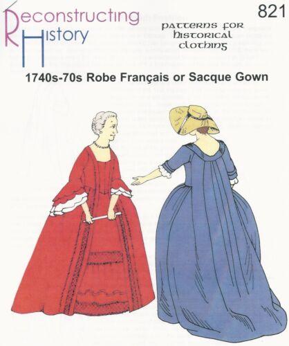 Patrones de corte Rh 821 1740s-70s robe français