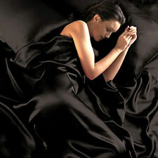 BLACK - SATIN SHEETS QUEEN Size Soft Silk Feel Bedding 4pc Set Luxury Bed Linen