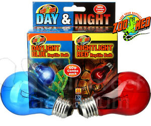 Zoo Med Day Amp Night Bulb Combo Pack Red Amp Blue 60 W Watt