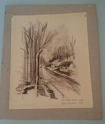 Humor Drawing Charcoal Landscape Index Flags At The Edge Road Signed René Tommasi 1955 Art