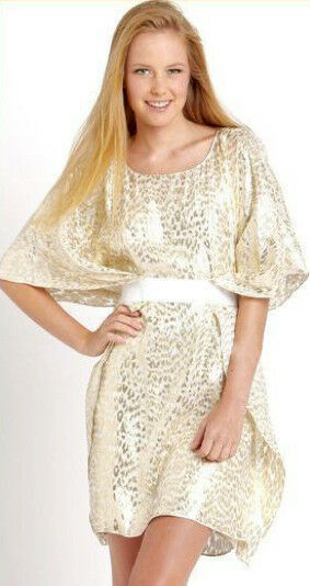 Badgley Mischka Mark  & James Ivory Gold Lurex Caftan Kimono Dress M