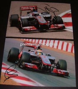 FORMULA-1-ONE-F1-LEWIS-HAMILTON-amp-JENSON-BUTTON-SIGNED-PRINTED-PHOTOGRAPHS