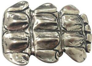 Rational Gürtelschnalle Kroko Platte Form Silber