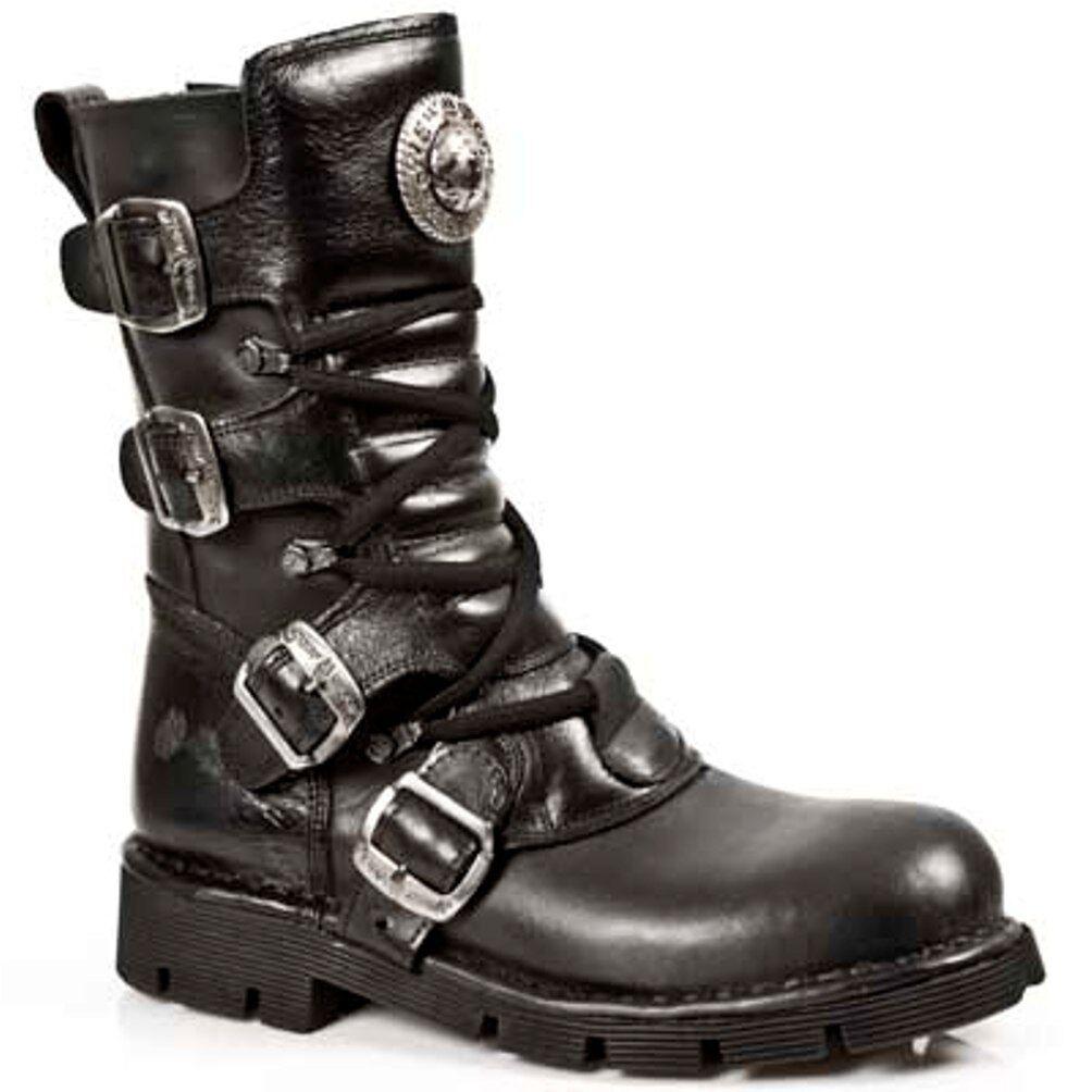 New Rock Stiefel Unisex Punk Gothic Stiefel - Style 1473 S1 Schwarz