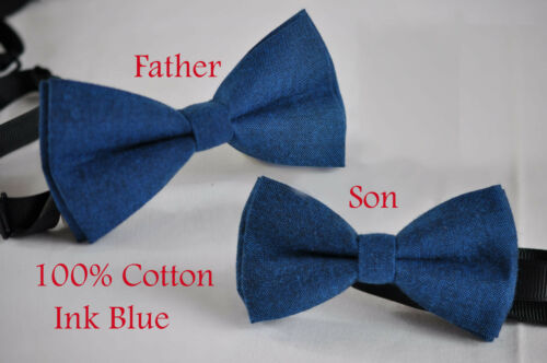 Father Son Match 100/% Cotton Mottled Ink Petrol Blue Bow Tie Bowtie Wedding