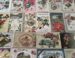 Lot-of-25-Pretty-Flowers-amp-Scenes-Antique-Floral-Greetings-Postcards-a819