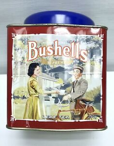 COLLECTABLES-BUSHELLS-Tea-Leaf-Tin-Can-Metal-Caddy-Cannister