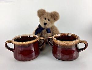 Set-2-McCoy-Soup-Chili-Mugs-Cups-Pottery-Brown-Drip-Double-Handle-USA-Vtg-Gift