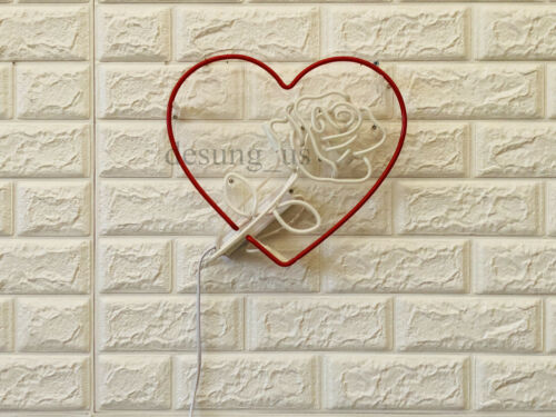 "Rose Flower Heart Neon Sign Light Lamp 14/""x10/"" Bar Wall Artwork Decor Gift Glass"