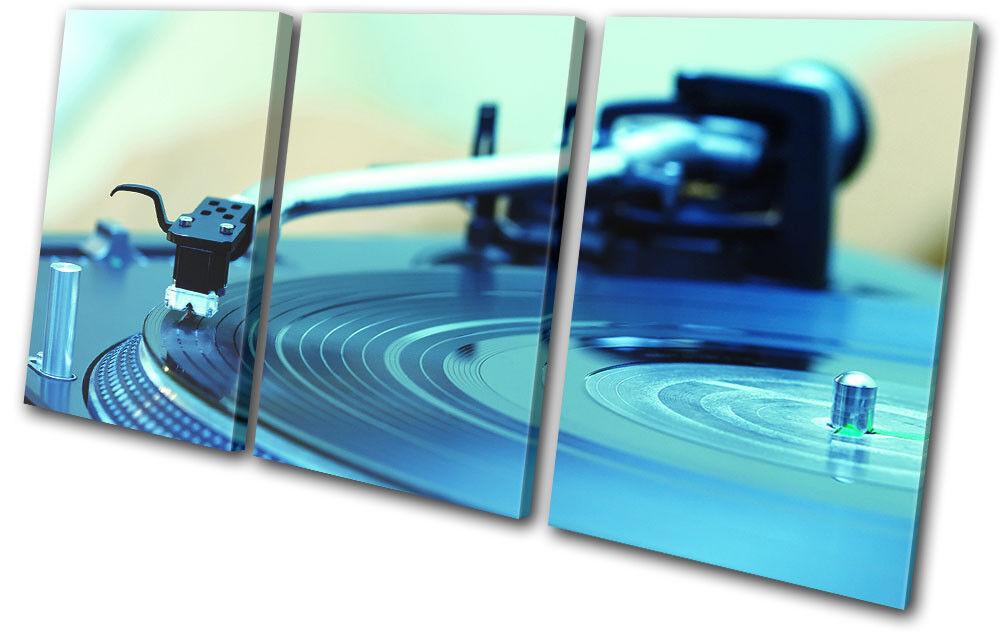 Turntables Decks Blau DJ Club TREBLE Leinwand Wand Kunst Bild drucken
