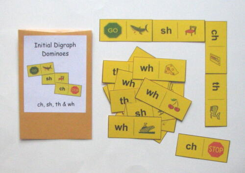 Teacher Created Literacy Center Learning Resource Game Digraph Dominoes