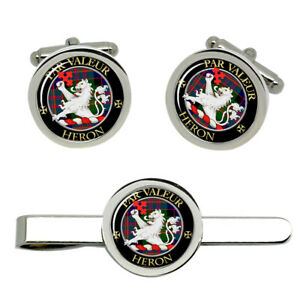 Heron-Scottish-Clan-Cufflinks-and-Tie-Clip-Set
