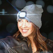 Rechargeable LED Beanie Hat Head Lamp Light Torch USB