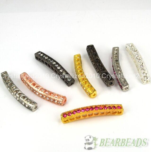 10Pcs Curved Side Ways Crystal Rhinestones Bar Bracelet Connector Charm Beads