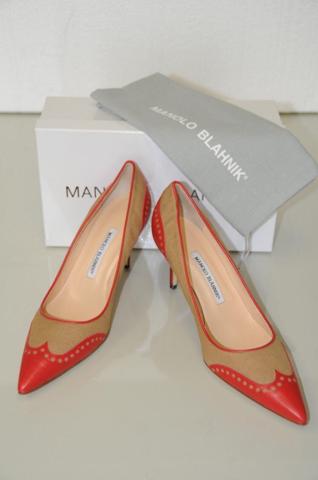 New Manolo Blahnik Coquette rot Tan Beige Linen Dots Dots Dots schuhe Heels Pumps 40.5 10 7160ce