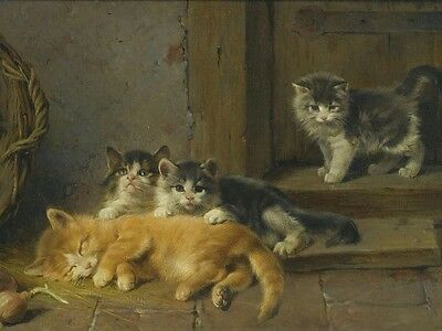 Canvas Print Kittens Oil painting Picture Printed on canvas 16X20 Inch P093
