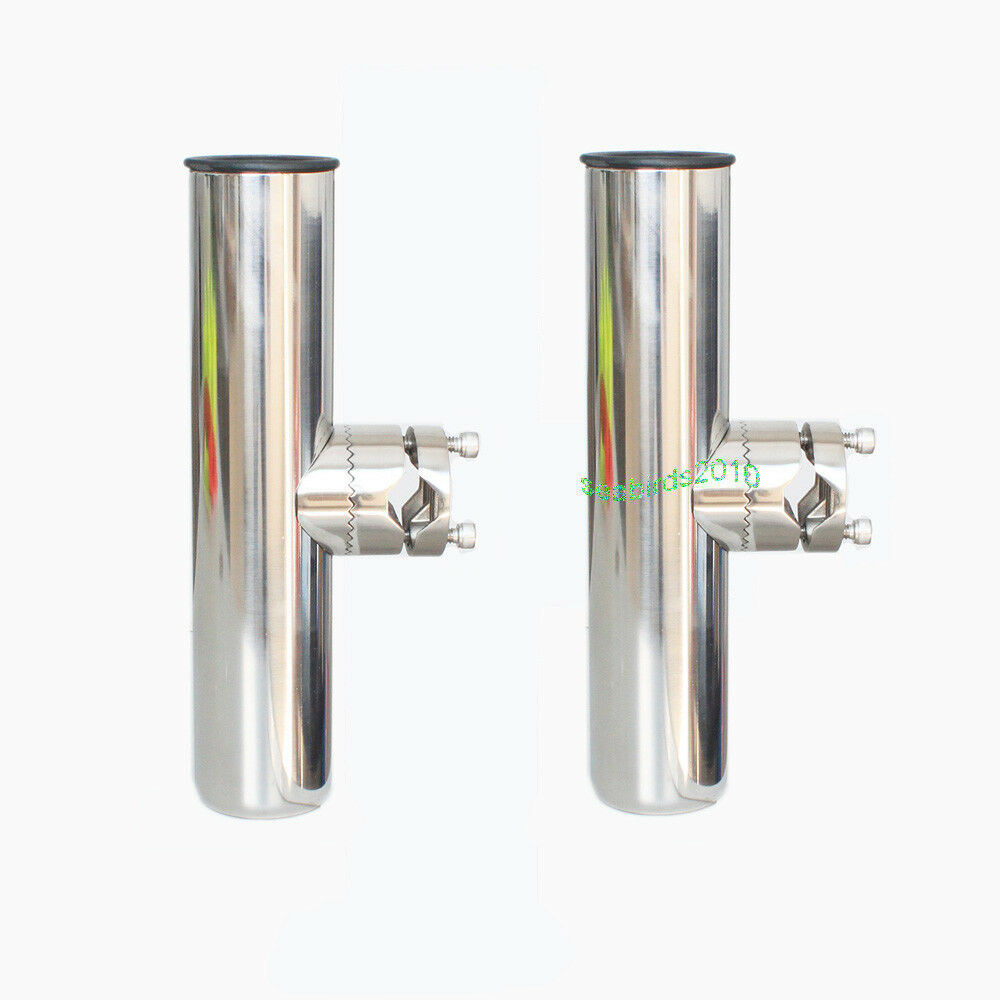 2pcs Clampon Stainless Steel Fishing Rod Holder 781 Any Rail Angle Rails