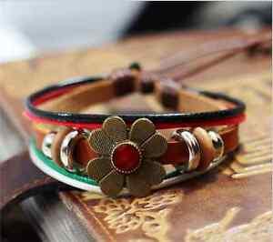 NEW-Jewelry-Fashion-Infinity-Leather-Charm-Bracelet-Silver-lots-Beads-Style-W3