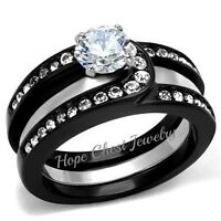 Women's Black Stainless Steel Cz Engagement With Ring Guard Wedding Ring Sz 5-10