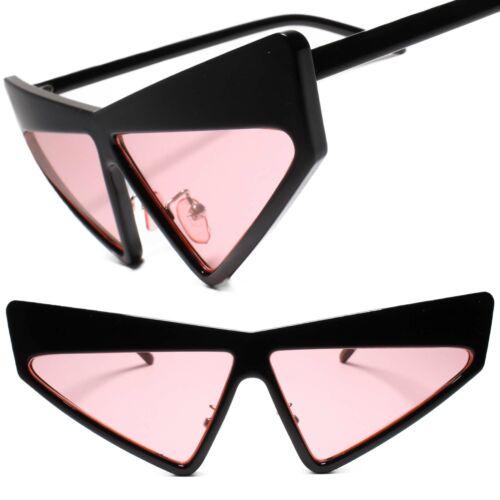 Womens Unique Funky Retro 70s 80s Style Black Frame Pink Lens Cat Eye Sunglasses