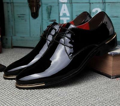 bj95 hot men's casual lace up oxford patent leather dress