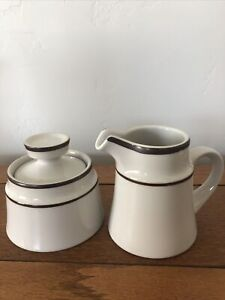 Noritake Primastone Genuine Stoneware Creamer and Sugar Bowl With Lid Tundra