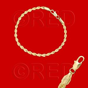 GOLD-over-SILVER-QUALITY-MADE-in-ITALY-3mm-ROPE-CHAIN-7-5-034-BRACELET-R3A
